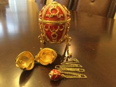 Authentic Faberge Red Rose Bud Egg