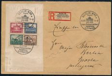 "German Reich - 1930 - ""block stamps from IPOSTA block"" - Michel block 1 on registered letter"