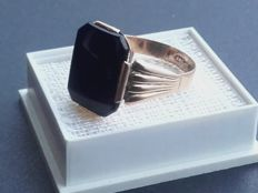 14K gold ring with Onyx, size: 20.30 mm, No Reserve price, from 1967