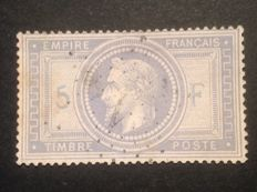 France 1869 - 5 Francs violet-grey, 5 and F in blue (printed twice) signed, with Calves digital certificate - Yvert no. 33A