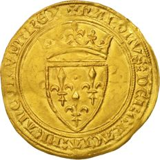 France – Charles VI (1380-1422) – Écu d'or with crown nd (Angers) 5th issue – Gold