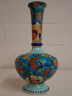 Emaux de Longwy - Elegant vase with enamelled decor of flowers on a blue background