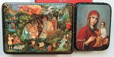 "Russian 2 lacquer boxes - Palekh Miniature ""Russian folk tales"" and "" Icons of the Mother of God with baby """
