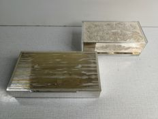 2 - silver plated jewellery boxes; WMF - silverplate floral decoration lid, lucite box and HOKA - silverplate box with simulated wood structure, inside is cedar wood