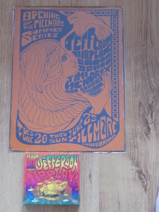 "Jefferson Airplane large repro metal concert sign & "" Flight Box "" 3 CD box set."