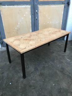 Designer unknown - dining table with inlaid pine top and steel frame