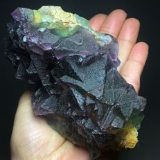 Natural green-purple octahedral fluorite crystals - 12 x 7 x 7 cm - 620 g