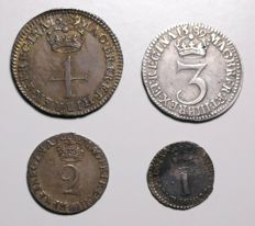United Kingdom - 1, 2, 3 and 4 Pence 1689 (Maundy Money) William & Mary (4 pieces) - silver