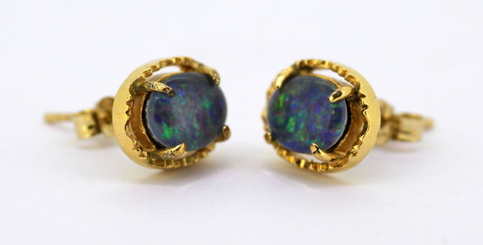 9K Yellow Gold Ladies Stud Earrings With Opal