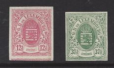 Luxembourg 1859 - selection of coat-of-arms stamps, imperforate - Michel 7 and 10