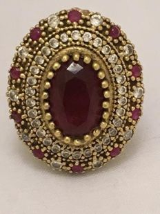 835 Silver entourage ring with natural rubies - ring size 17.25 mm