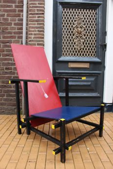 Rietveld replica De Stijl chair, 2nd half 20th century, Netherlands