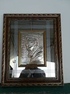 Saint Pio of Pietrelcina - Large relief picture in silver leaf