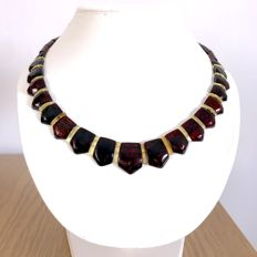 Wide collar necklace Baltic amber slices (not pressed) - length 48 cm- width 21 mm