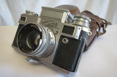 """Kiev-3А"".Limited, a small version of ""Kiev-3"", but with synchrocontact. 1954. Exact copy of Contax -3."