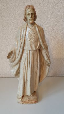 Sacred Heart statue in chamotte clay -                      circa 1930 by Lücker.