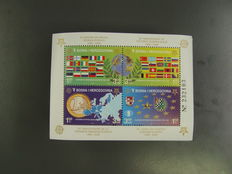 Bosnia and Herzegovina - block 27 A, Mi. no. 419 to 422A, 500 pieces, in original packaging