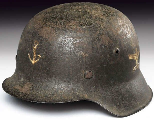 German Helmet Model 42 with Double Insignia Front and Side of the Italian Navy.