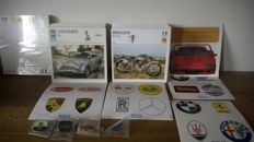 500 collector's/collection cards of cars and motors + stickers and pins