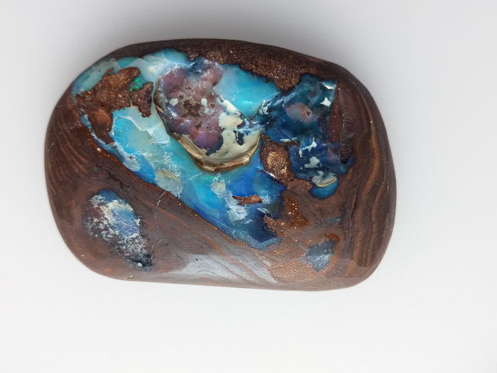 Garbed Fine Electric Blue Green Flashes colors - Untreated 100% Natural Australian Boulder Opal - 193.35 ct