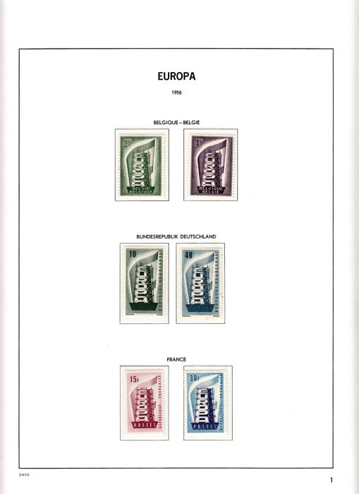 Europa stamps 1956/1972 - Collection in Davo LX album Part I, album flags United Nations in album.