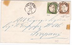Sardinia, 1855-1863 - dark green 5 and dark bistre 10 Cent used on a letter from Palermo to Trapani  - Sassone No.  13E and 14Eb