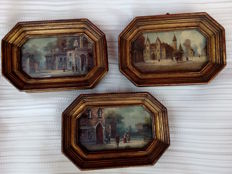 Three signed miniatures pictures - 19th century city scenes-origin Italy - 20th century