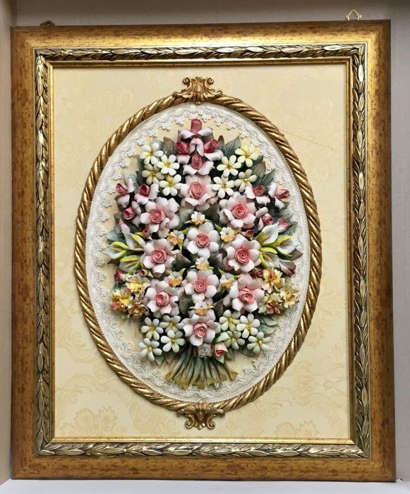 Classic Capodimonte Porcelain Picture 60x50 composed of Mixed Flowers