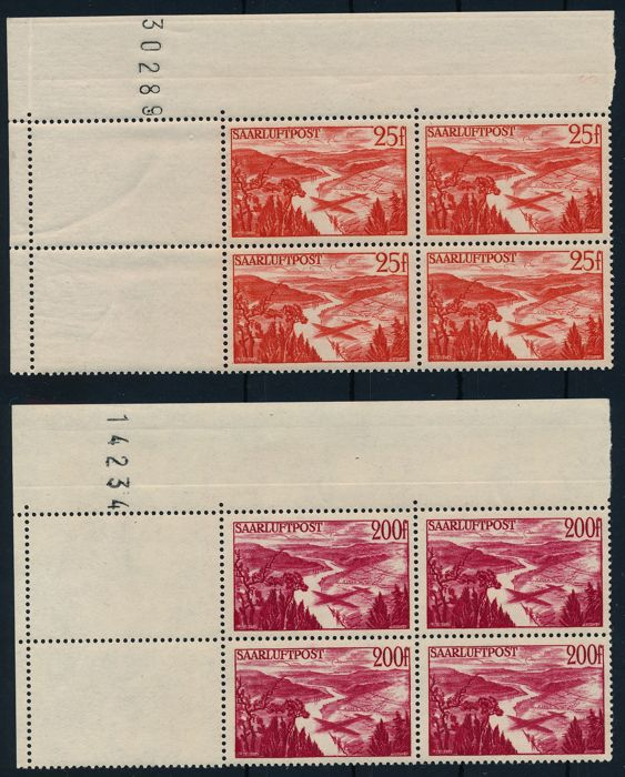Saarland - 1948 - 1950 - batch of corner blocks of four with print date and attached empty fields
