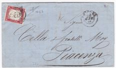 Sardinia, 1855-1860 - carmine lilac 40 Cent used on a letter from Bologna to Piacenza - Sassone No.  16Cb