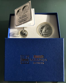 "Finland - 10 Euro 2002 ""Elias Lönnrot"" the Finnish national epic, Kalevala + Silver necklace"