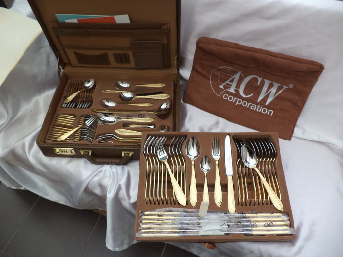 Cutlery case 'original' ACW 72-pieced rare design CLEO POINT-FILET 23/24 kt gilded *like new*