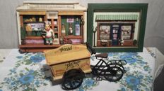 Vintage bakers cart miniature and two bakers shop dioramas