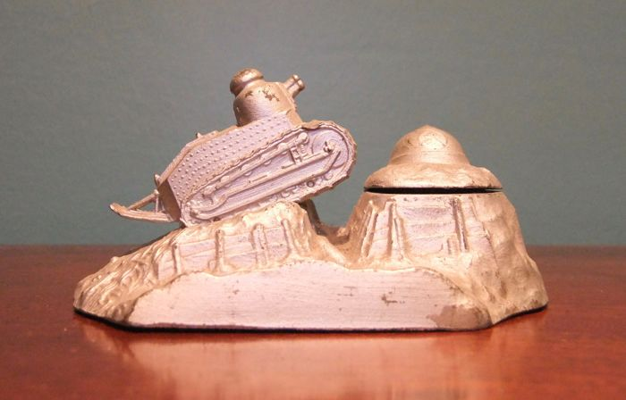 French WWI Commemorative Inkwell of a Tank riding over a Trench