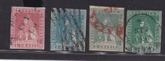 Tuscany, 1857 - 1, 2 and 4 Crazia, selection of second edition stamps - Sassone No. 12, 13, 13a and 14