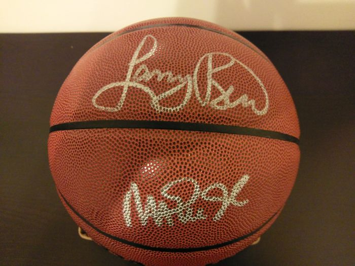 original authentic LARRY BIRD & MAGIC JOHNSON AUTOGRAPH / SIGNING  Spalding NBA Basketball PSA/DNA + Hologramm