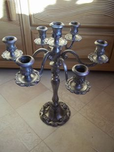 Beautiful large and heavy 6 armed tin candlestick - height 47 cm - weight 2.8 kilos - very good condition