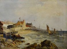 George Barnard (1807-1890) - A coastal village with fishing boats.