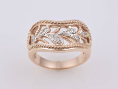 Gold 14 kt  Ring Diamond of 0.098 ct in total Size: 56 (ø 18 mm) No reserve price