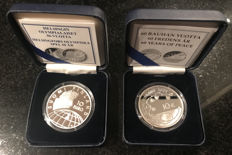 Finland - 10 Euro 2002 'Helsinki Olympic Games' + 10 Euro 2005 '60 Years of Peace' (2 coins) - silver