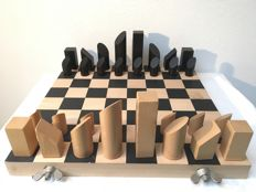 Artistic design wooden chess set in Bauhaus style