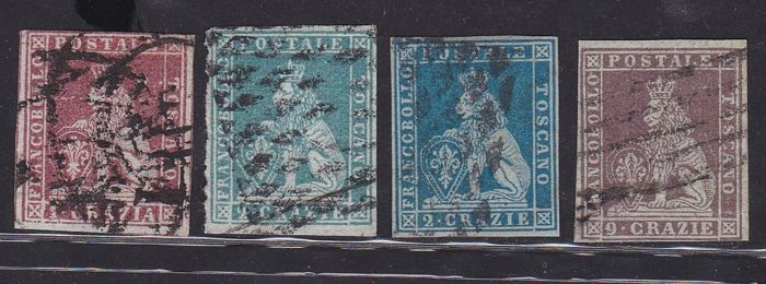 Tuscany, 1852 - 1, 2 and 9 Crazia selection of first issue stamps - Sassone No. 4, 5, 5b and 8