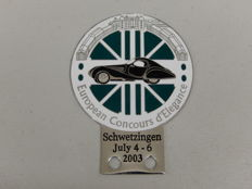 Vintage Original European Concours d'Elegance 2003 Enamel and Chrome Car Badge Auto Emblem