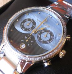 Lancaster Italy Ladies Wristwatch Galaxy 102 Diamonds Cronograph Swiss Movement
