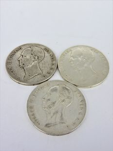 The Netherlands - 2½ guilder coins 1845 and 1846 lily, Willem II - 3 pieces - silver