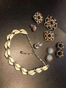 Collection of trifari black enamelled brooch and earrings Napier earrings jewelcraft necklace
