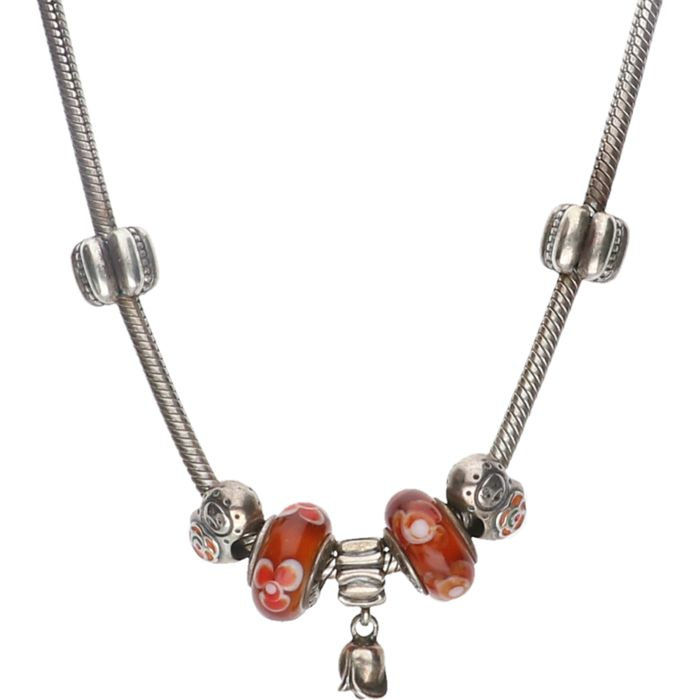925/1000 Silver necklace of the Pandora brand with various charms. - length x width: 45.5 x 0.4 cm