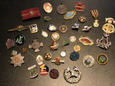 Collection rare Masonic Pins badges medals also lots others fire police badges