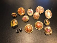 Vintage collection of cameo, hand painted plaques French Limoqes, signed brooches and jewels