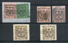 Modena 1852 - Lot of 6 values - Sassone Nos.  2, 4 and 7